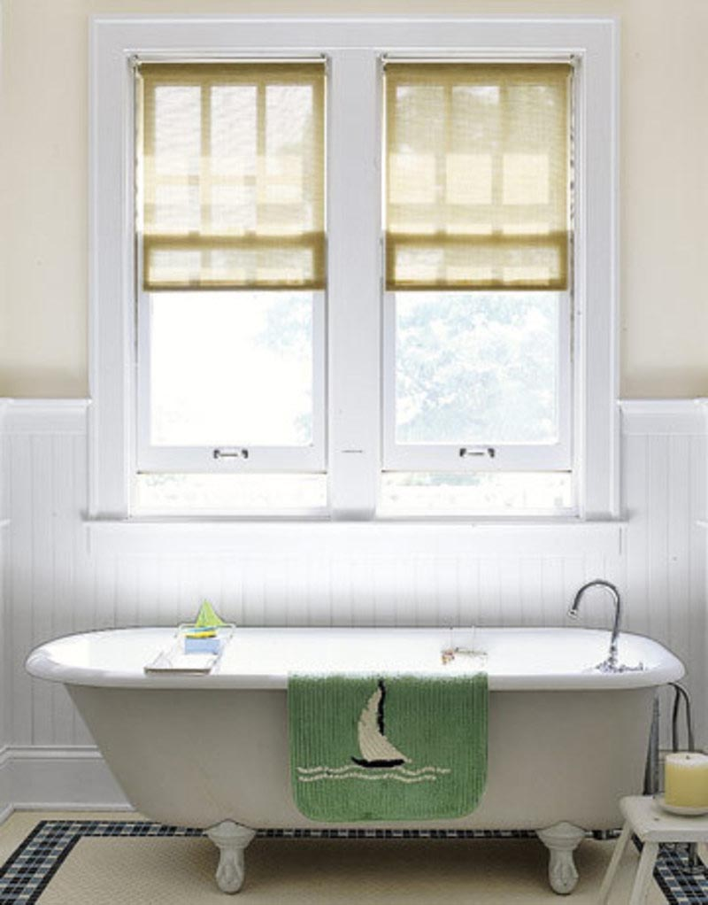 Curtain for small bathroom window window treatments for Bathroom window designs