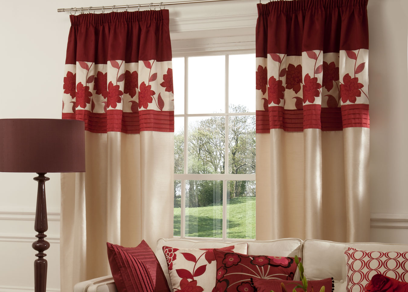Maroon curtains for living room window treatments design ideas for Red and cream curtains for living room