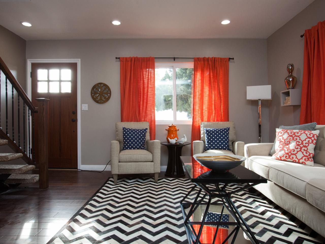 Glamorous Orange Gray Bedroom