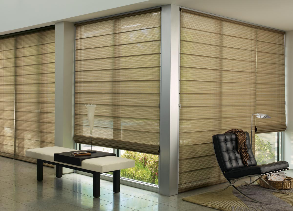 Bamboo Roman Shades for Sliding Glass Doors
