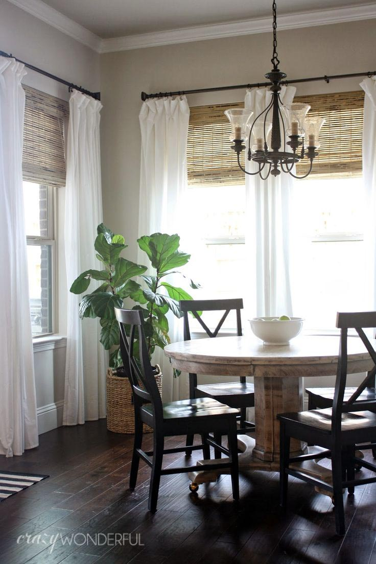 Bamboo roman shades with curtains window treatments for Roman shades for wide windows