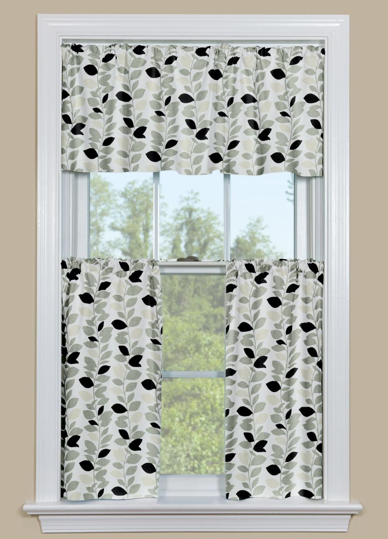 black and white kitchen valance window treatments design