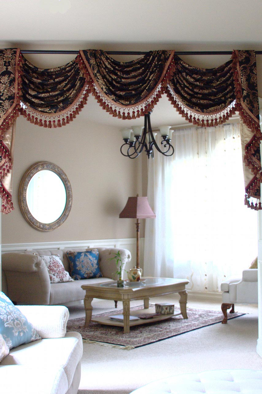 Black Swag Valance Curtains
