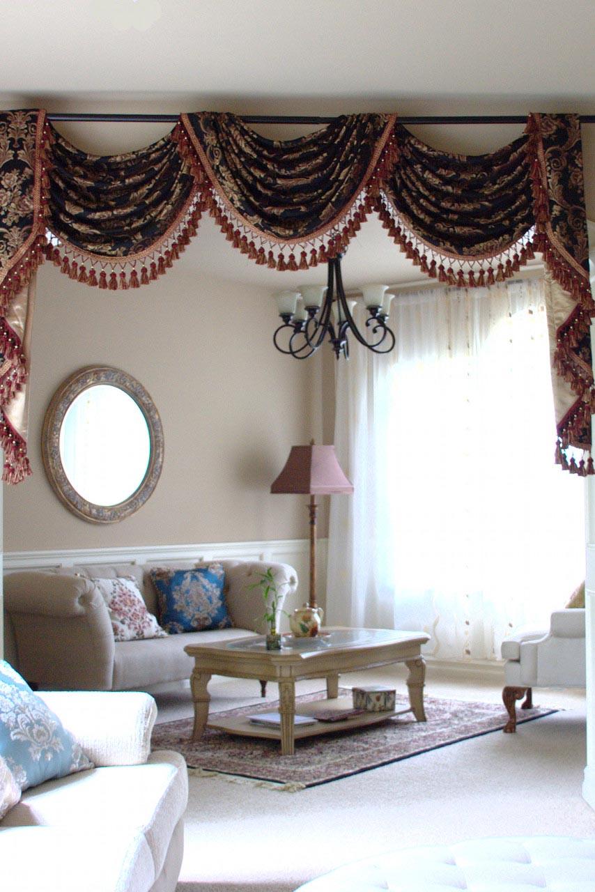 black swag valance curtains window treatments design ideas. Black Bedroom Furniture Sets. Home Design Ideas