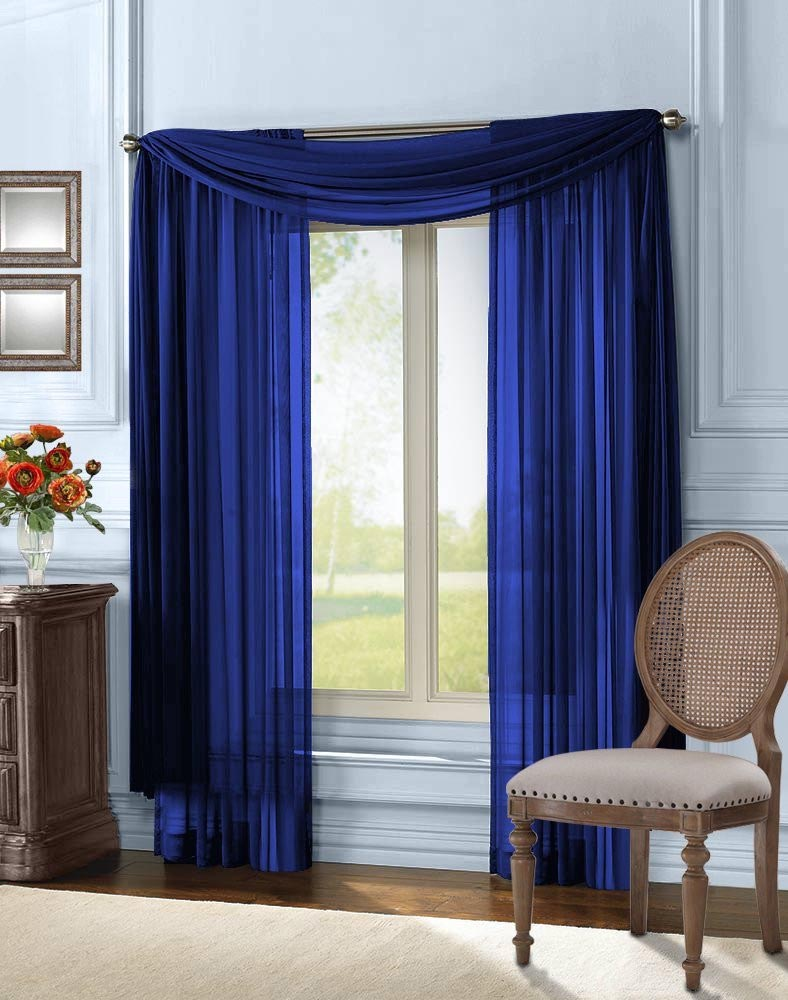 Blue Sheer Scarf Valance Window Treatments Design Ideas