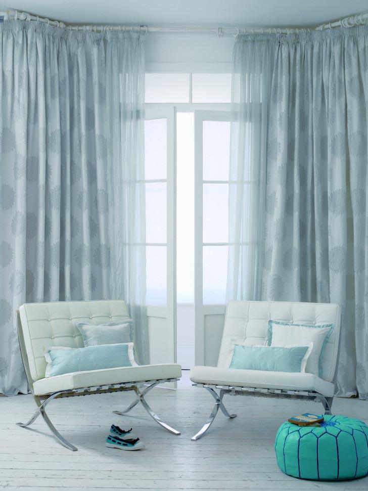 Blue Valances for Living Room