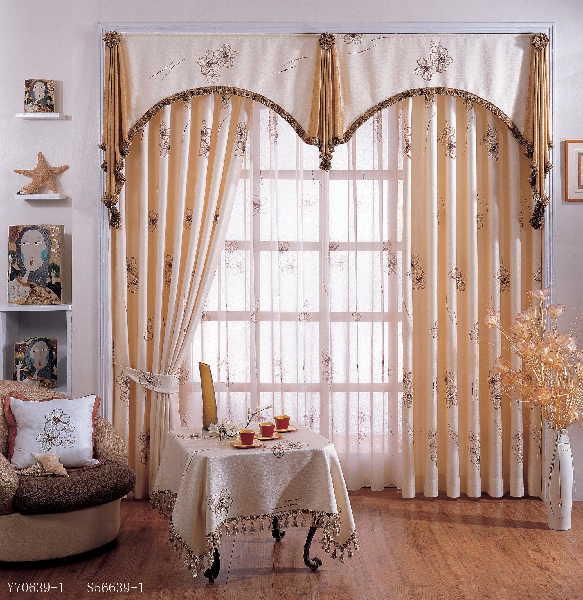 Curtain valances for living room window treatments for Living room valances