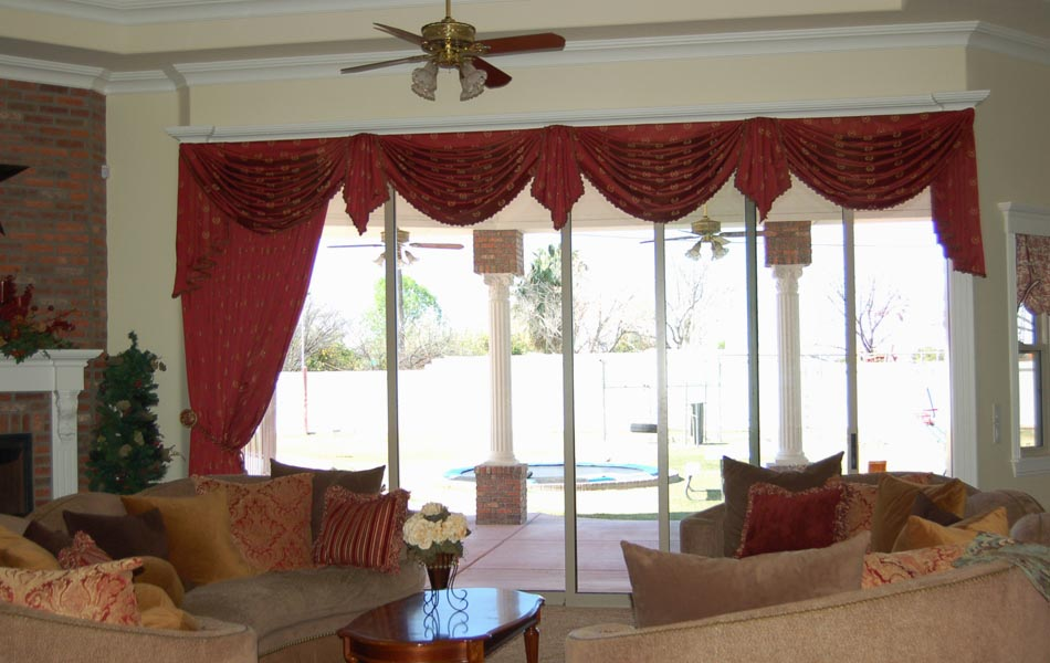 Curtains with valance for living room window treatments for Living room valances