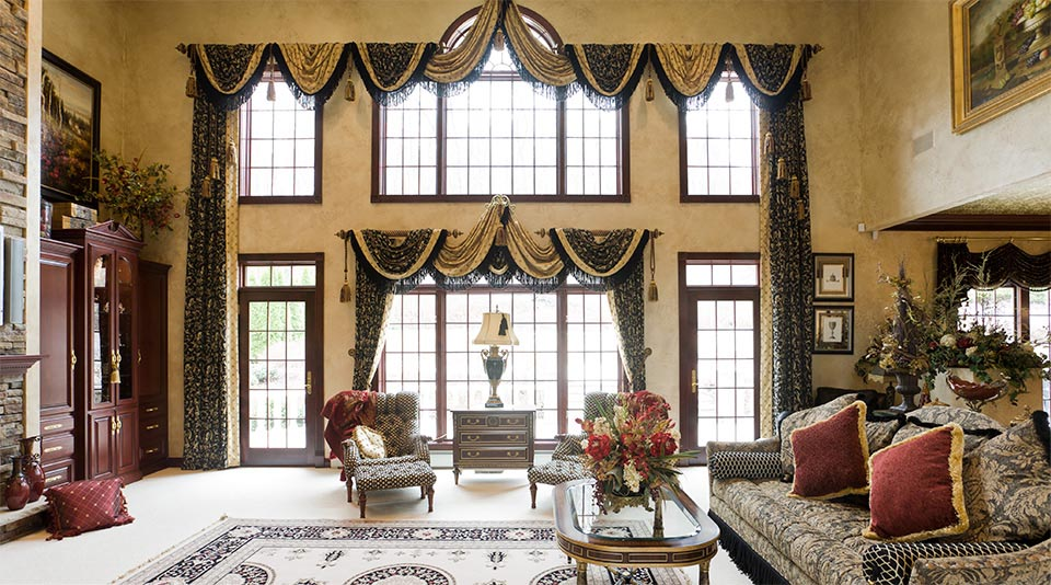 Custom made window valances window treatments design ideas High ceiling window treatments