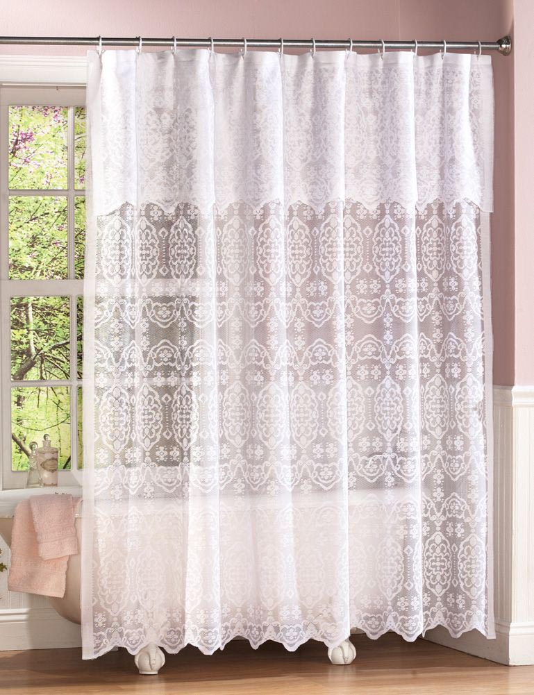 double swag shower curtain with valance window. Black Bedroom Furniture Sets. Home Design Ideas
