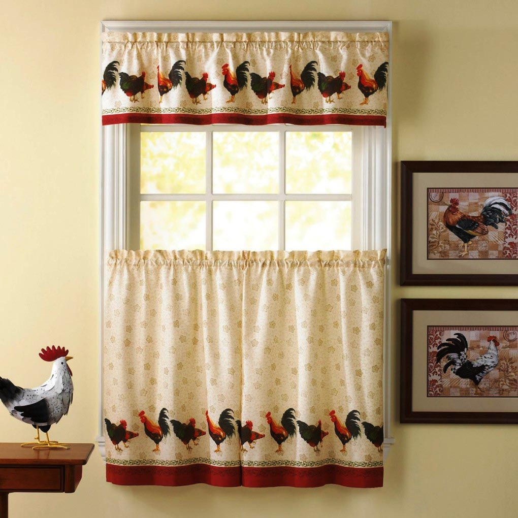 French country rooster valance window treatments design ideas - French country kitchen valances ...
