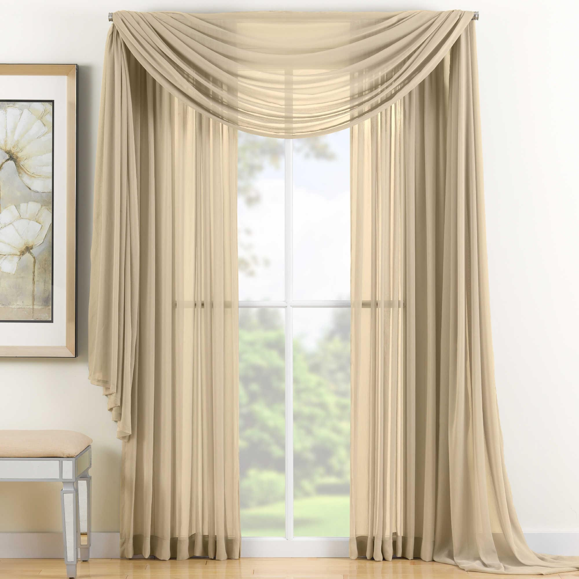 Awesome Sheer Scarf Valance Window Treatments Part - 5: Gold Sheer Scarf Valance