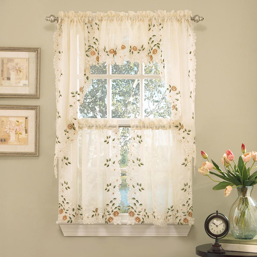 Kitchen curtain swags and valances window treatments for Valance curtains for kitchen