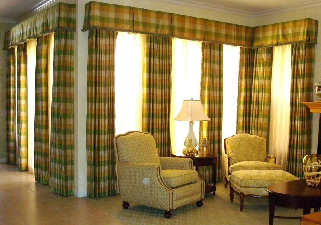 Living room curtains with valance window treatments for Living room valances