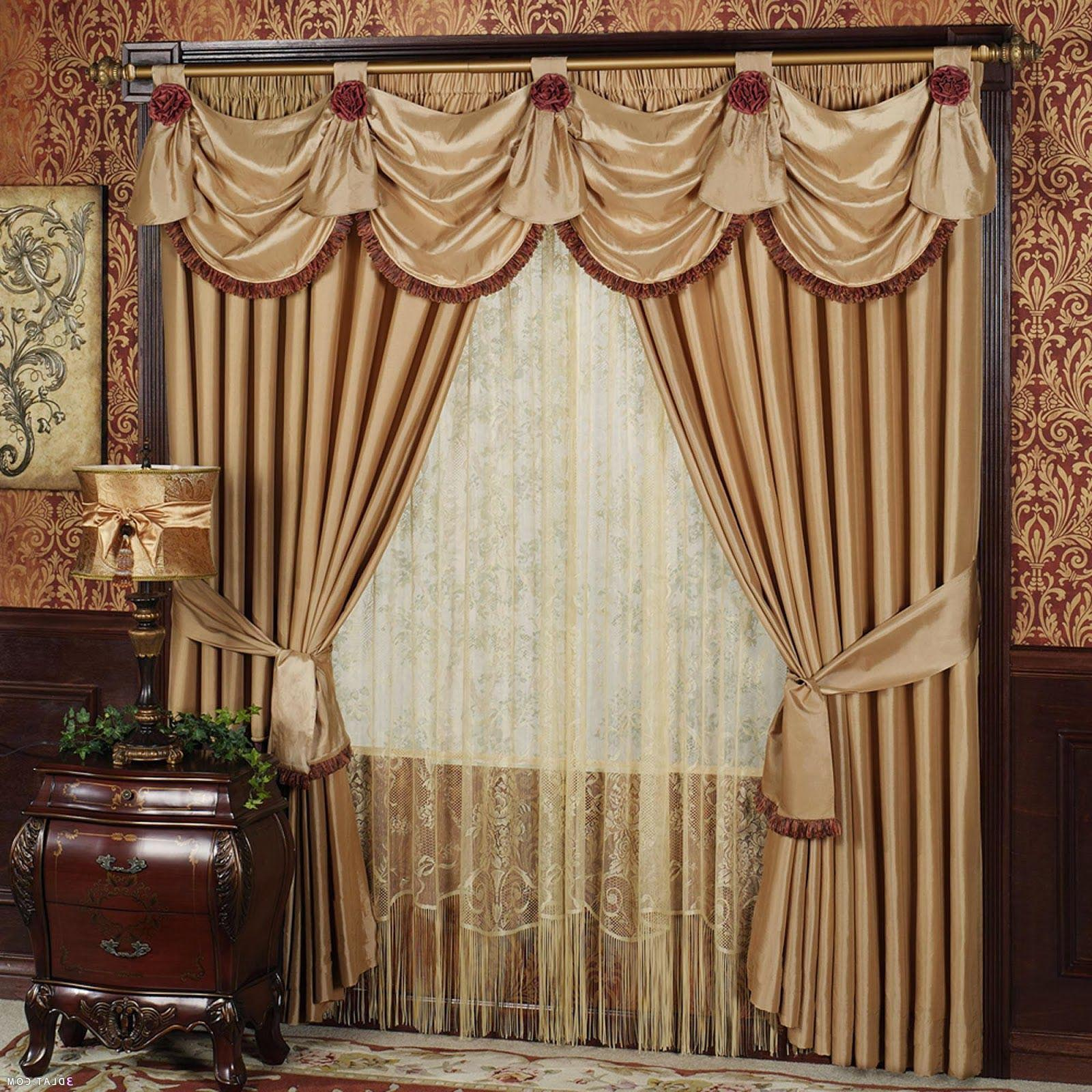 Living room drapes with valances window treatments for Living room valances
