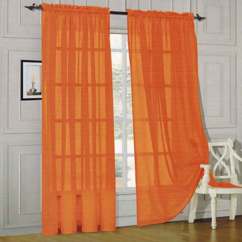 Orange Sheer Scarf Valance