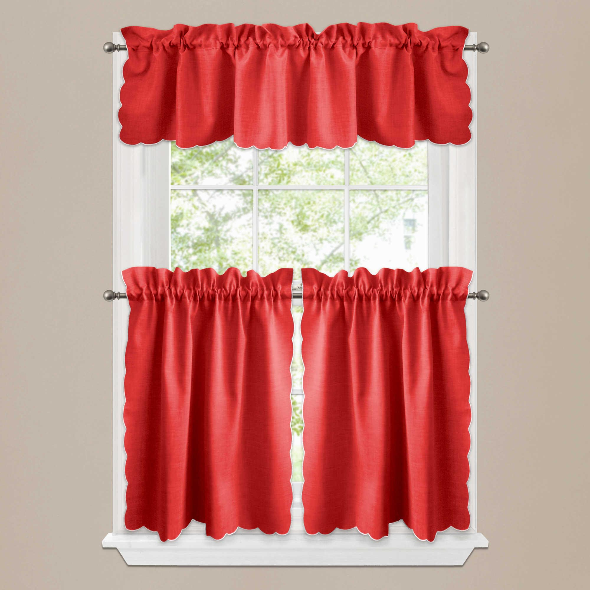 Beautiful Red Kitchen Curtains And Valances
