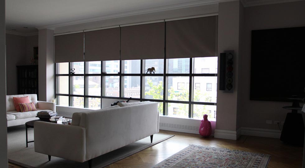 Roller blinds for large windows window treatments design for Window coverings for large picture window