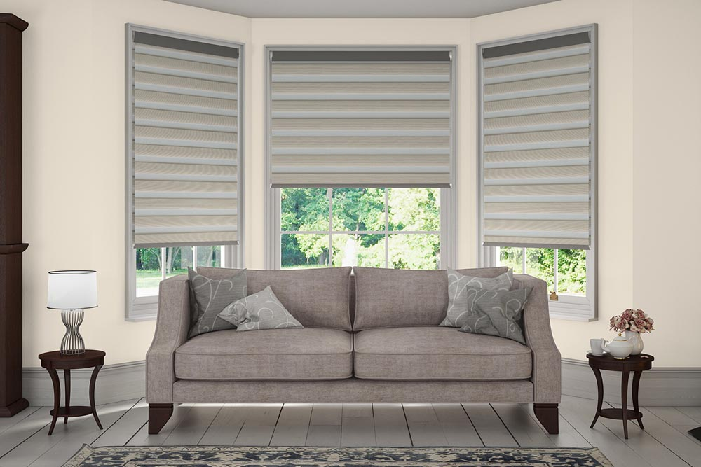 Types of blinds for large windows window treatments for Living room vertical blinds