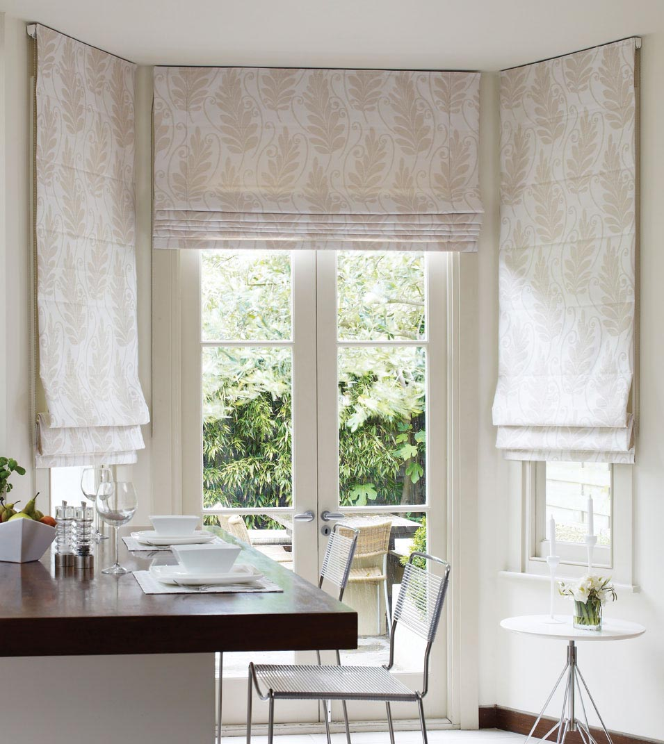 White Bamboo Roman Shades Window Treatments Design Ideas