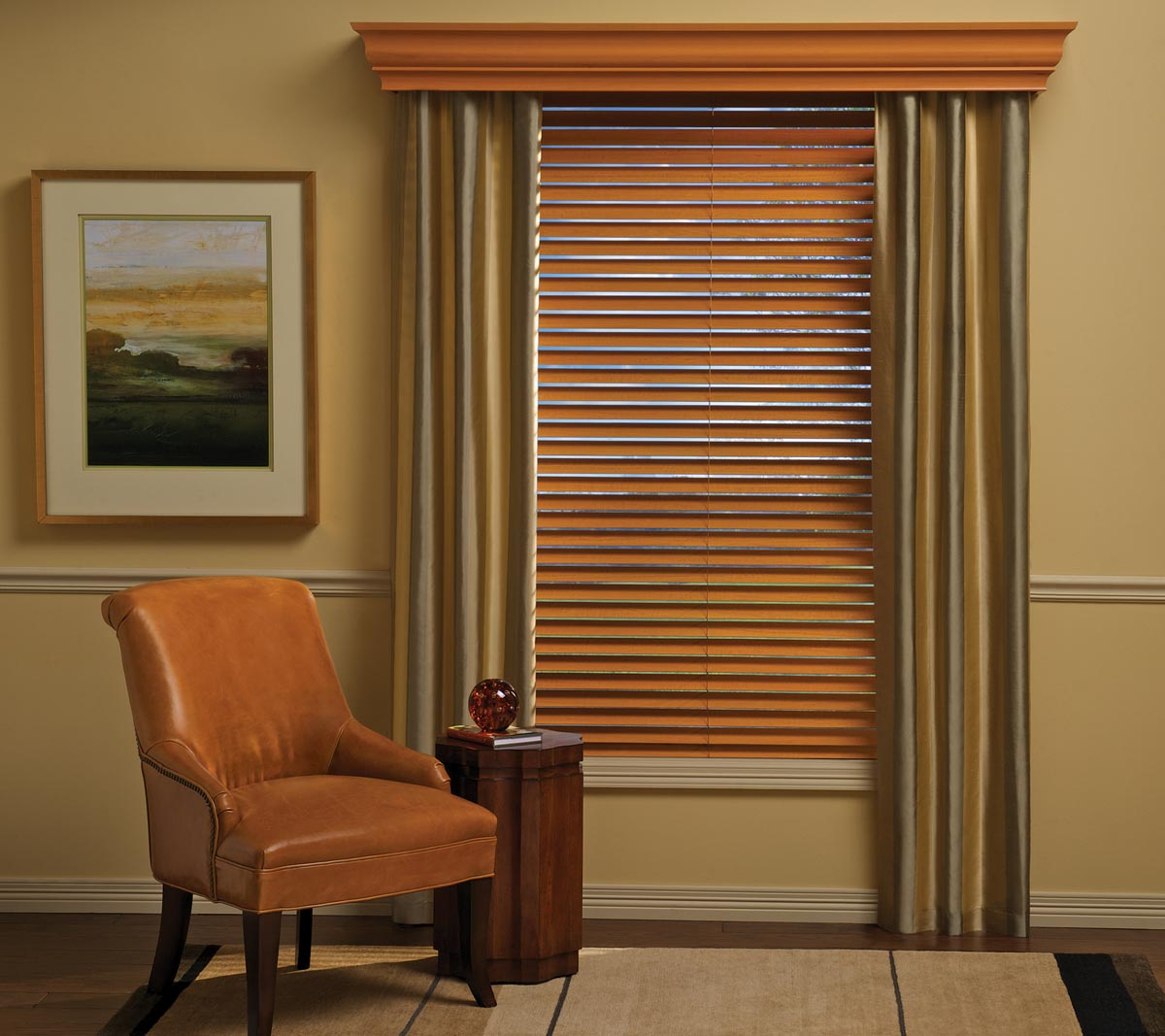Window Treatments with Wood Blinds