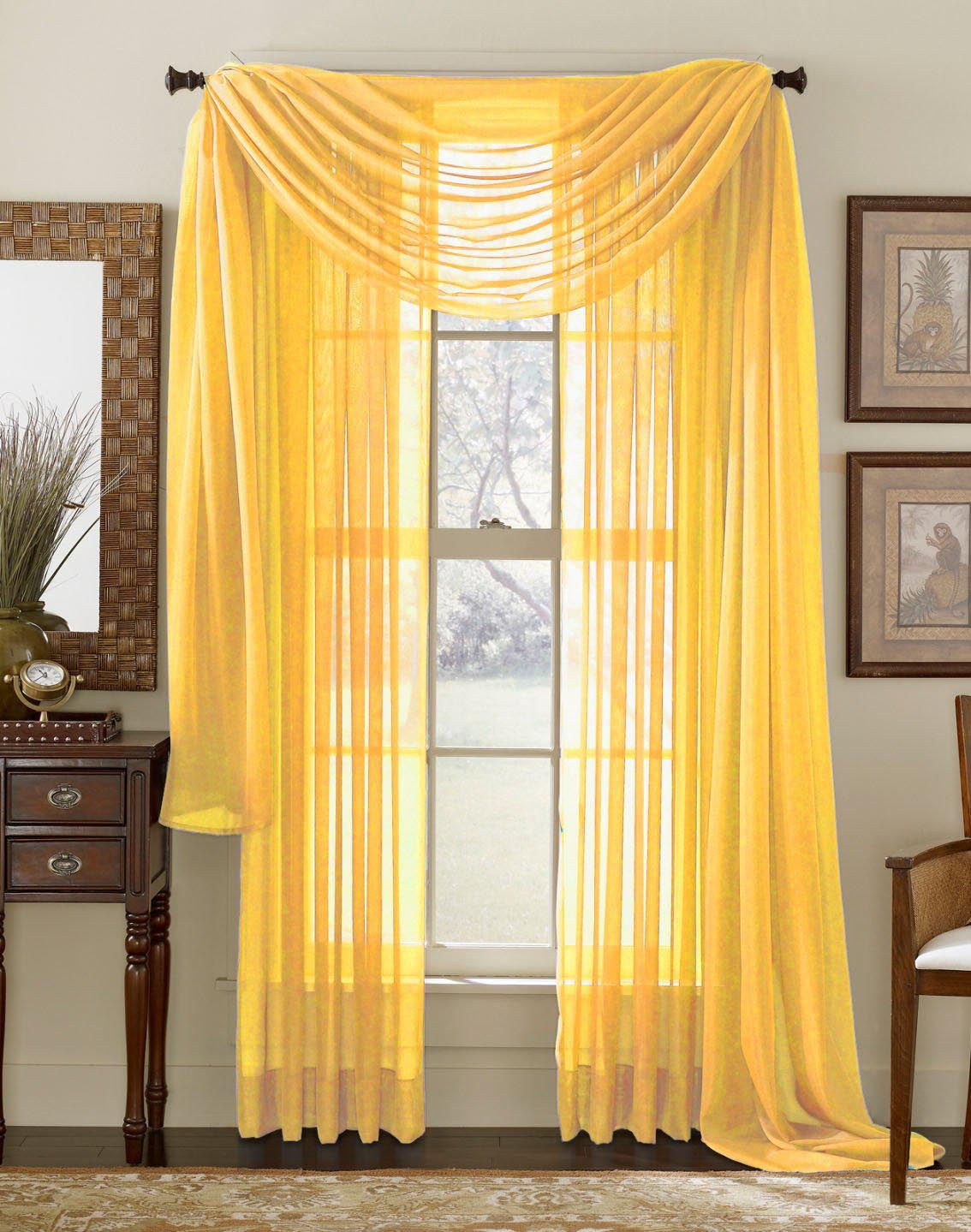 Yellow Sheer Scarf Valance
