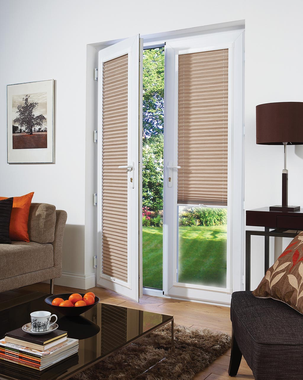 Bamboo shades for patio doors window treatments design ideas for Door window shades blinds