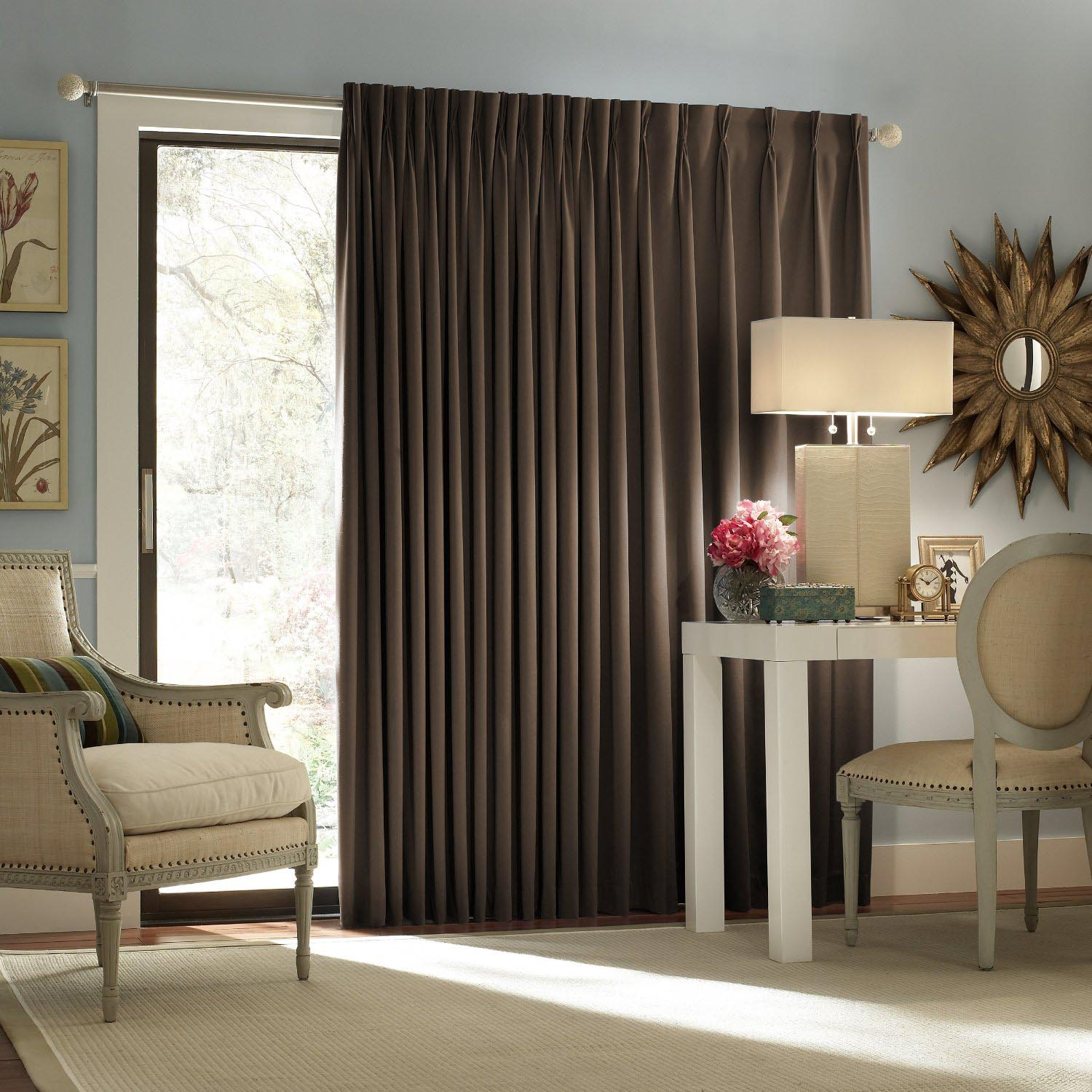 Blackout shades for sliding glass doors window for Room darkening window treatments ideas