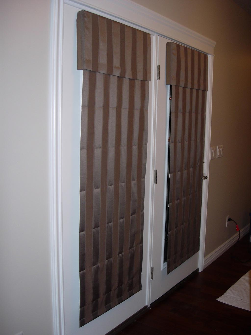 Fabric Roman Shades for French Doors