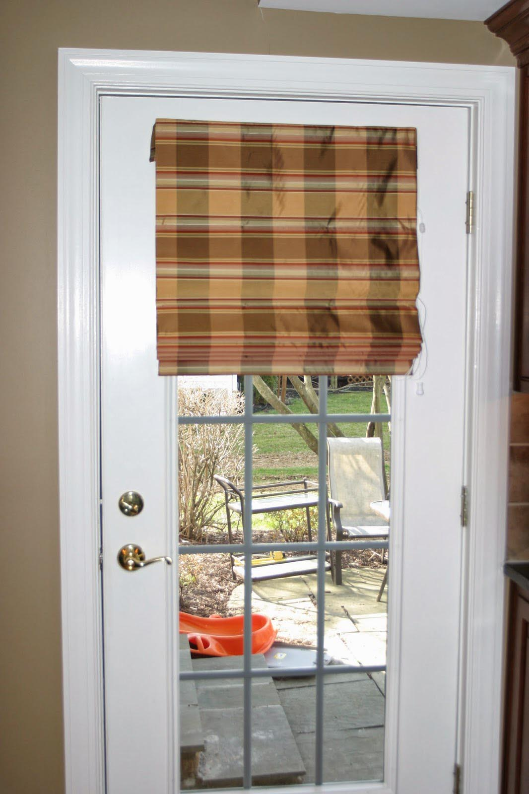 Fabric shades for french doors window treatments design for Door window shades blinds