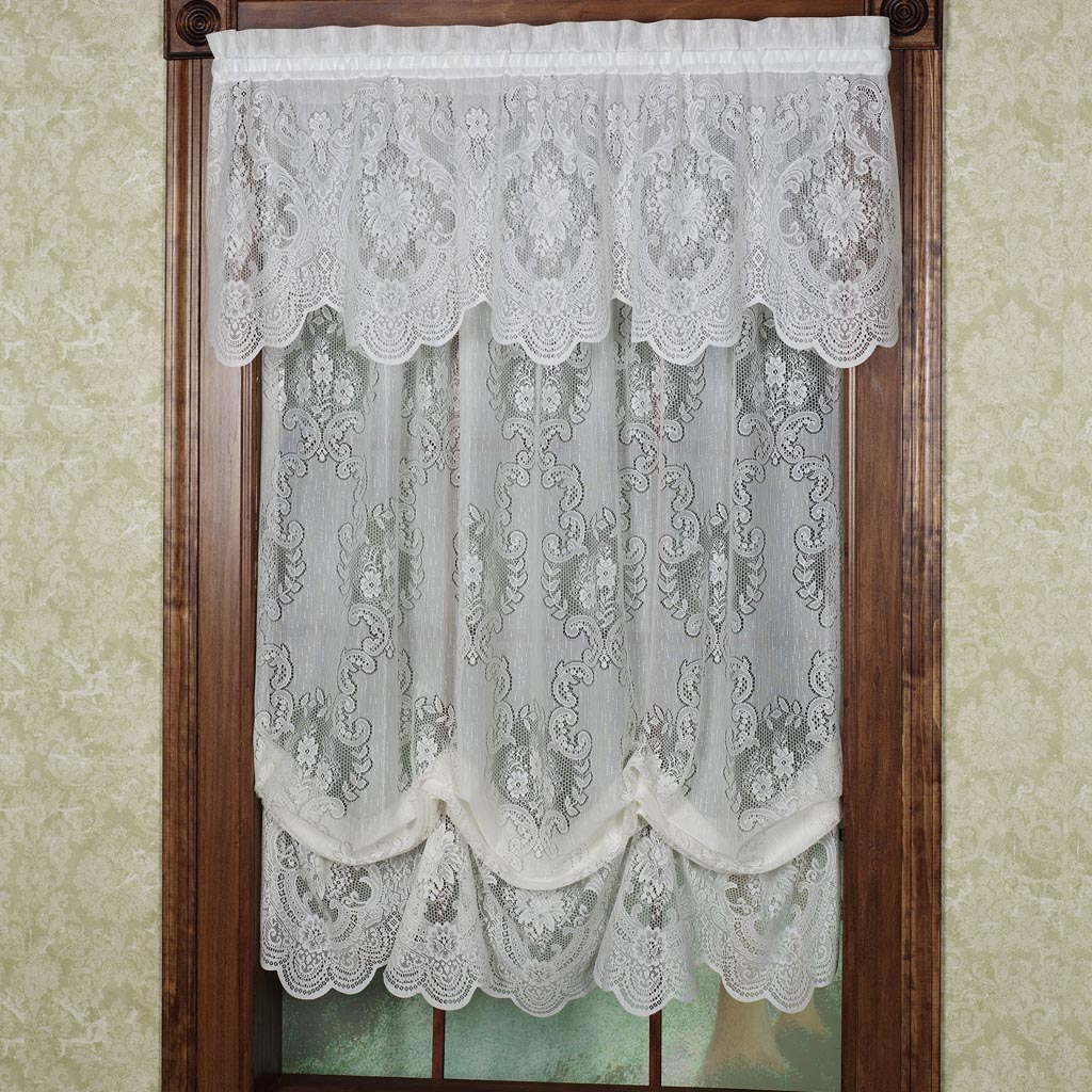 Lace balloon shade curtains window treatments design ideas for Balloon curtains for living room