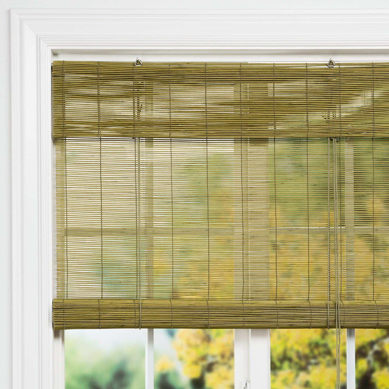 Style selections cocoa light filtering bamboo roller shade for Roll up screens for porches