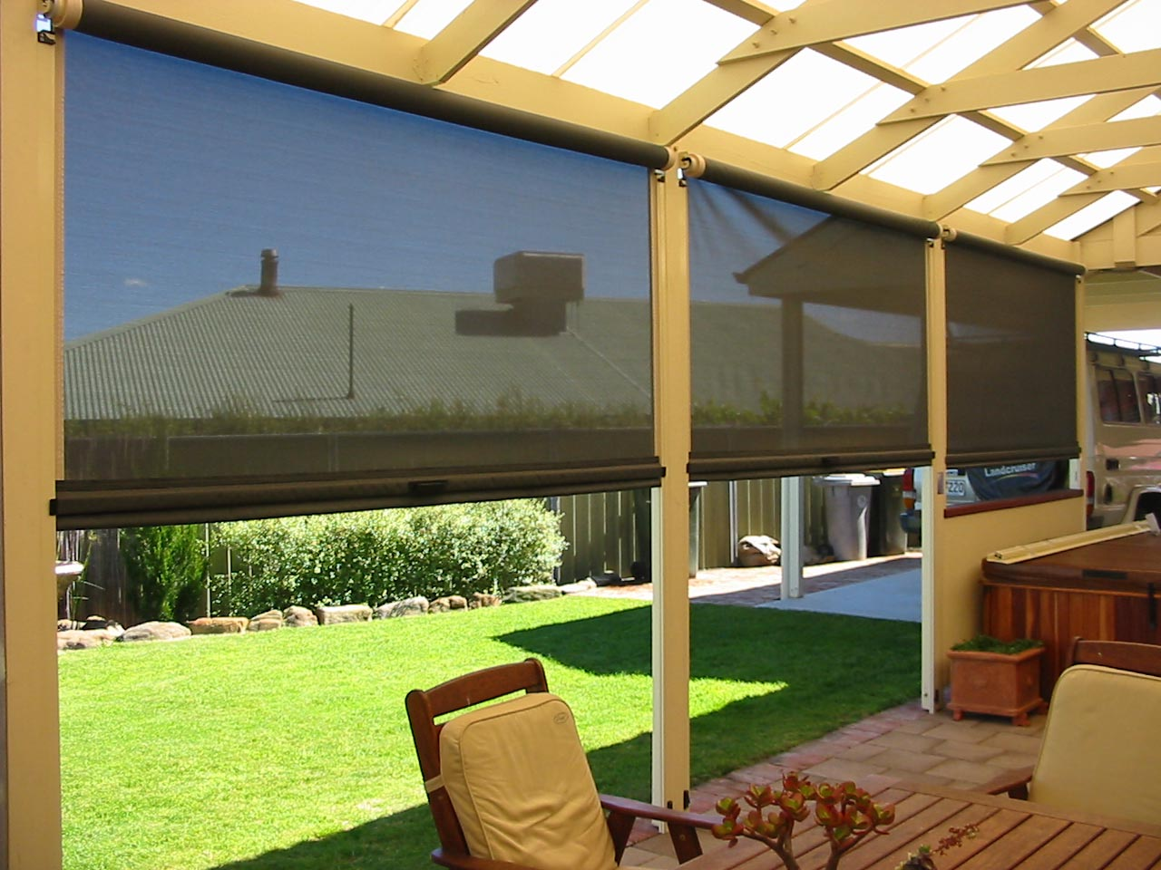 Outdoor Roller Shades For Porch Window Treatments Design Ideas