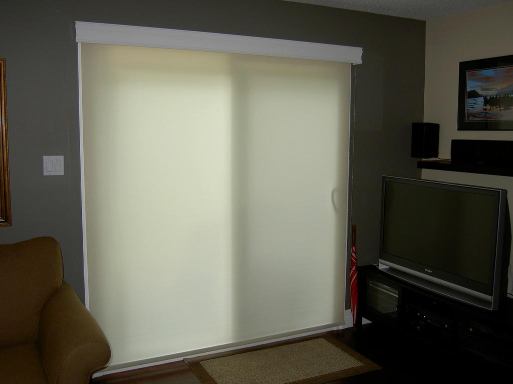 Patio door roller shades window treatments design ideas for Door window shades blinds