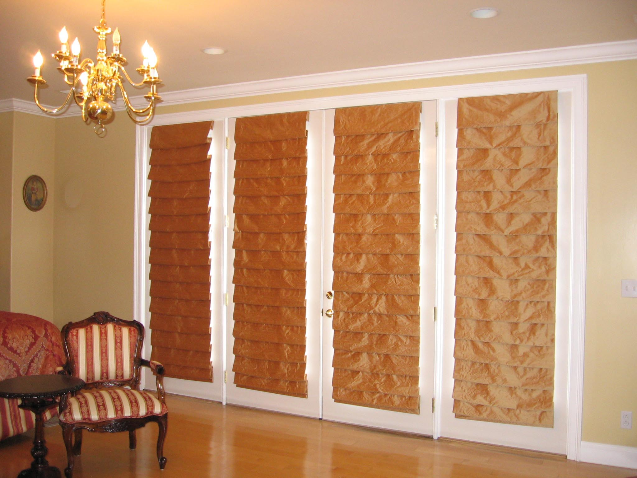 Roman Shade For French Doors Window Treatments Design Ideas
