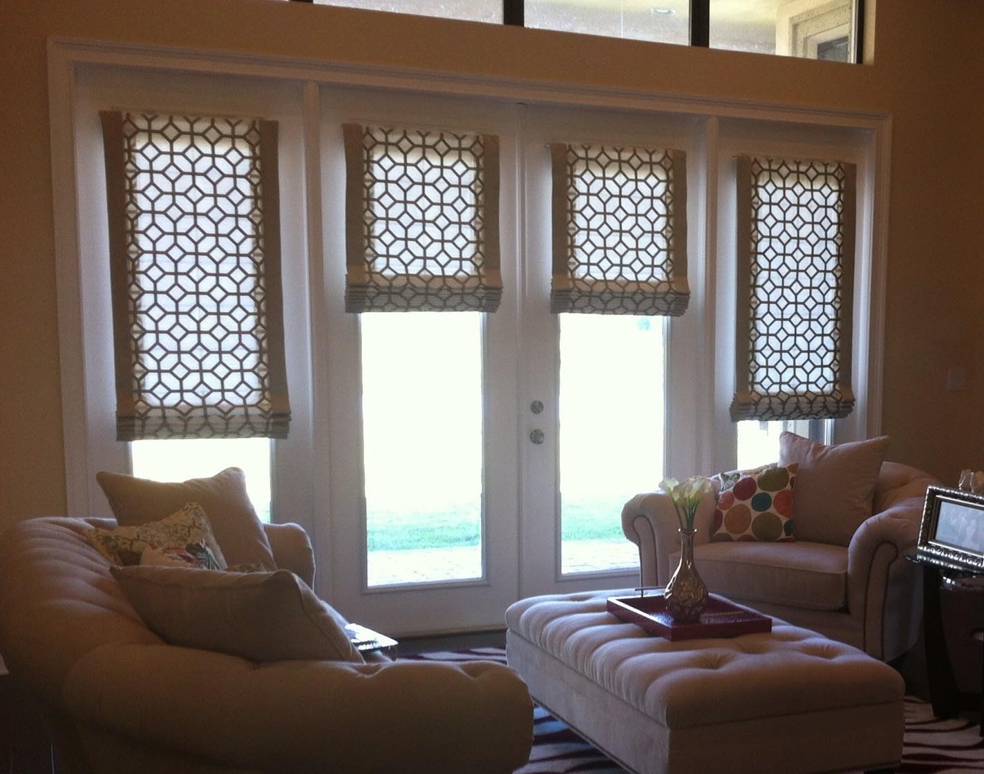 Roman shades for french doors window treatments design ideas for Shades and window treatments