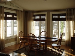 Roman Shades with Sheer Curtains